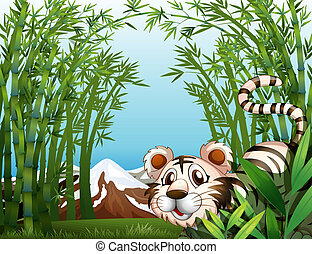 A tiger in a bamboo forest - Illustration of a tiger in a...