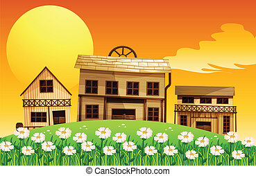 Man-made houses in the hills - Illustration of man-made...