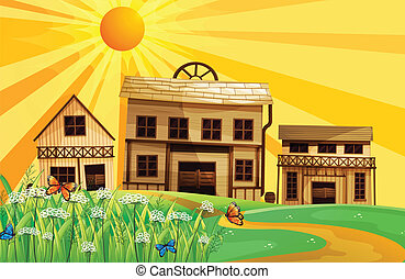 Houses in the hills - Illustration of houses in the hills