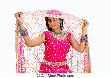 Beautiful Bangali bride lifting veil - Beautiful Bangali...