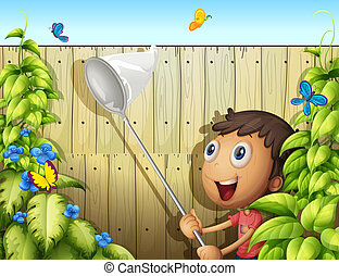 A butterfly catcher inside a yard with fence - Illustration...