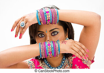 Face and hands - Beautiful face of a Bengali bride with her...