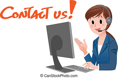 Contact us Customer service woman - Vector illustration of...