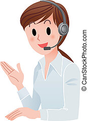 Customer service woman smiling - Vector illustration of...