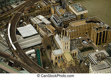 Southwark Cathedral from Above - Aerial view of Southwark...