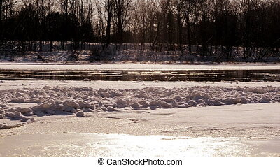 neris river in winter - Frozen Neris river in winter and...