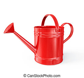 watering can - red watering can isolated on a white...