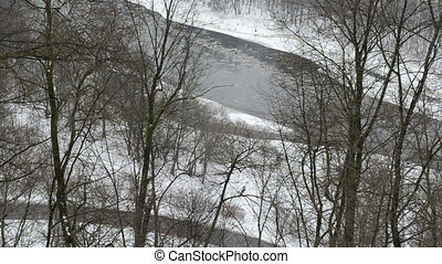 river floe snow winter - neris river flow with floe downhill...