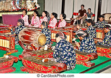 Musician of Wayang Kulit in Yogyakarta on Java, Indonesia -...