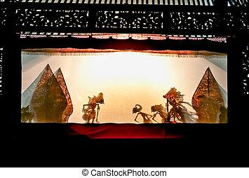 Wayang Kulit in Sonobudoyo museum,Yogyakarta, Indonesia. -...