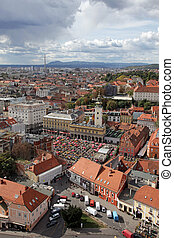 Aerial view of Zagreb, the capital of Croatia
