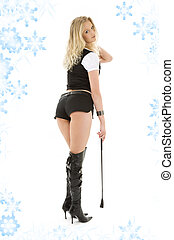 riding crop girl - picture of dominant lady in black shorts...