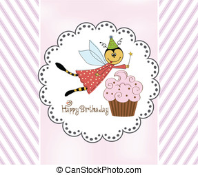 Childish birthday card with funny dressed bee, vector...
