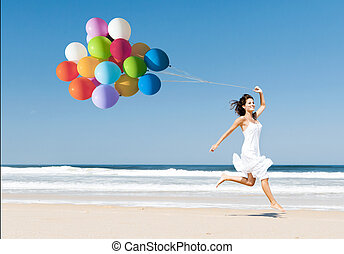 Running and Jumping with ballons - Beautiful girl walking in...