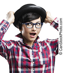 Nerd Girl - Beautiful girl with a funny face wearing a hat...