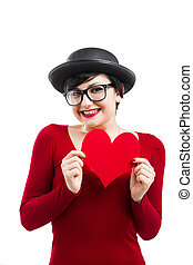 Valentine's girl - Beautiful and funny nerd girl, holding a...