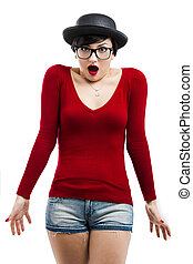 Nerd Girl - Beautiful girl with a astonished expression,...