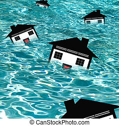 Housing Market Drowning CONCEPT - Homes floating in water...
