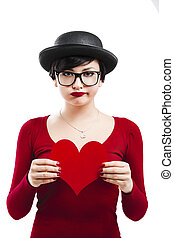Valentines girl - Beautiful and funny nerd girl, holding a...