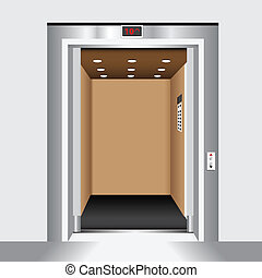 Open elevator door - Open door passenger elevator. Housing...