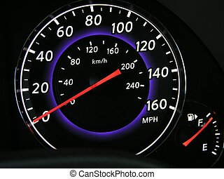 Speedometer in the dash board of a new car