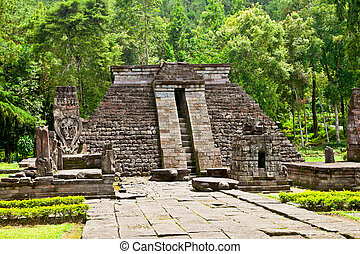 Ancient erotic Candi Sukuh-Hindu Temple on Java, Indonesia -...