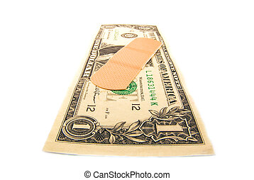 Bailout - A bandaid on the US dollar on a white background