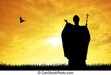 Pope silhouette - celebration of the Pope