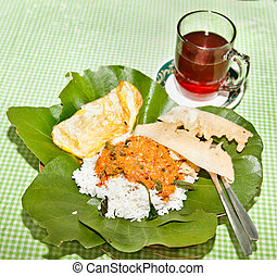 Nasik famous dish from Java served on leaf Java