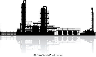 Oil Refinery Plant Silhouette. Vector illustration.