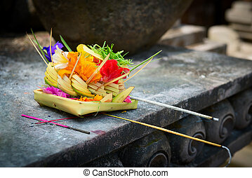 Offerings to gods in Bali - Traditional balinese offerings...