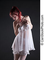 Beautiful red head - Red head wearing white lingerie