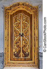 Balinese carving door in Batuan temple, Bali