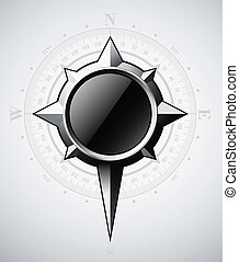 Steel compass rose with scale
