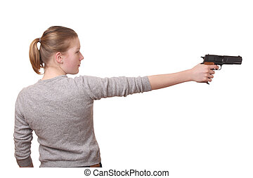 Girl with a gun - Portrait of a young teenage girl with a...