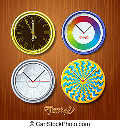 World time, watches on wooden wall, vector Eps10...
