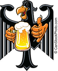 Eagle with beer - Cartoon eagle holding a mug of beer