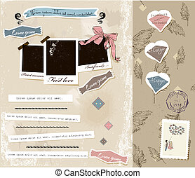 Vintage scrapbook elements set.