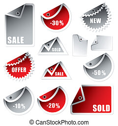 tag bend silver red - collection of shop tags with discount...