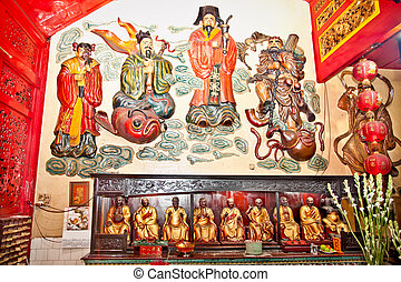 Inside of Eng An Kiong chinese temple in Malang on Java,...