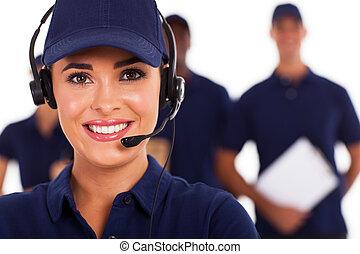 technique, soutien, appeler, centre, expéditeur
