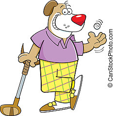 Cartoon dog playing golf - Cartoon illustration of a dog...