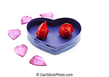 Flower bud in heart box