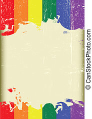 Grunge Gay flag - A poster with a large scratched frame and...
