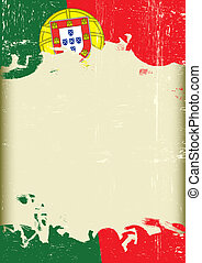 Grunge Portugal flag - A poster with a large scratched frame...