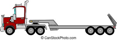 Truck and lowboy trailer - This illustration depicts a semi...