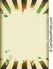 Grunge sunbeam color flag - A poster with a large scratched...