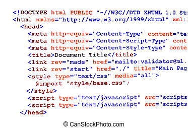HTML source code on white front view - HTML source code of...