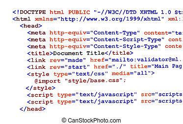 html, Quelle, Code, weißes, Front, Ansicht