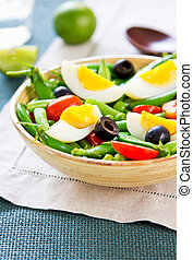 Green bean with Snap pea and egg salad - Green bean with...